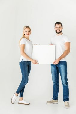 couple holding blank card