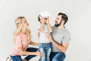 family with vr headset