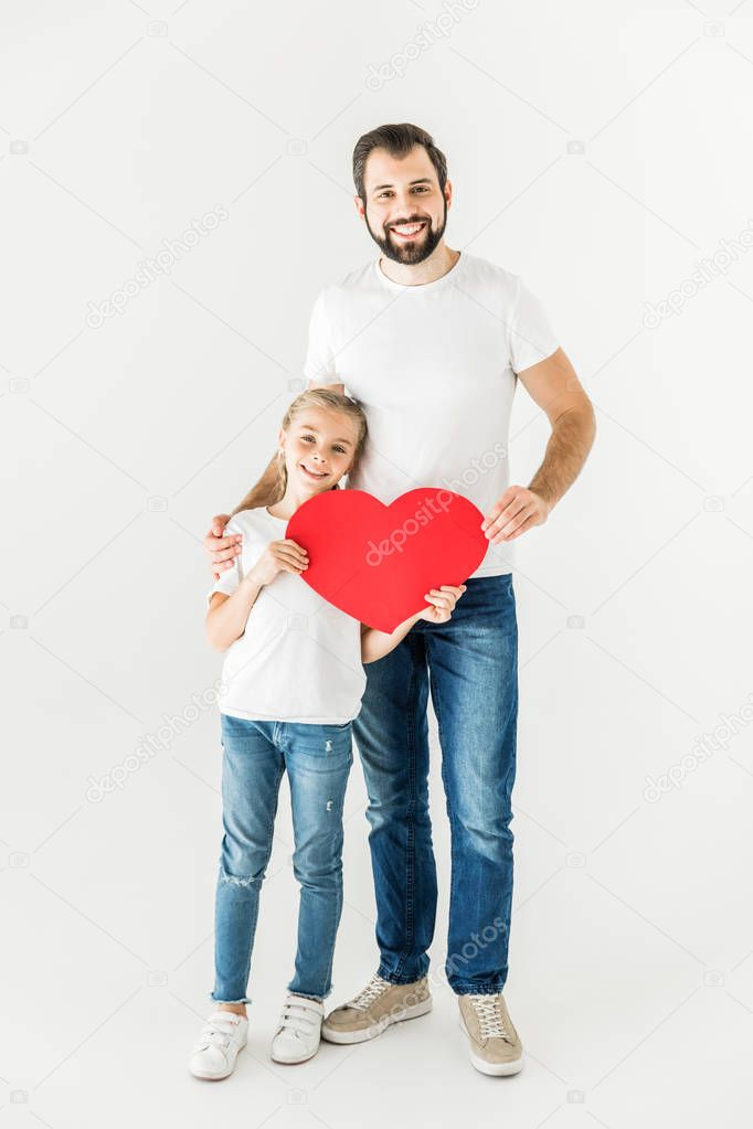 father and daughter with heart symbol