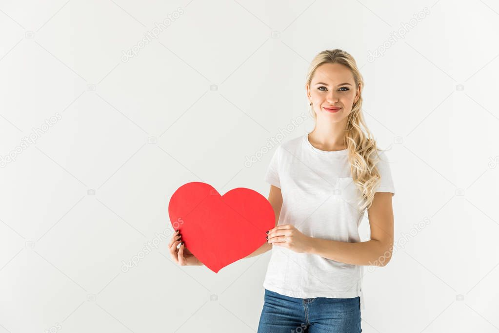 girl with red heart symbol