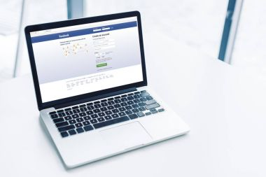laptop with facebook website