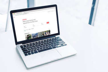 laptop with airbnb website