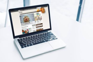 laptop with bbc food website