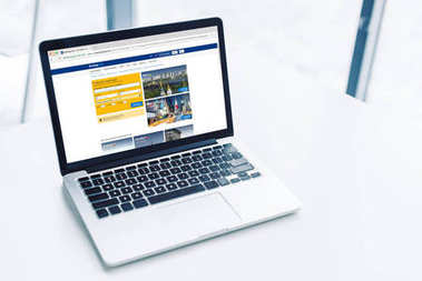 laptop with booking website