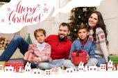 Fotografia famiglia con regali di Natale