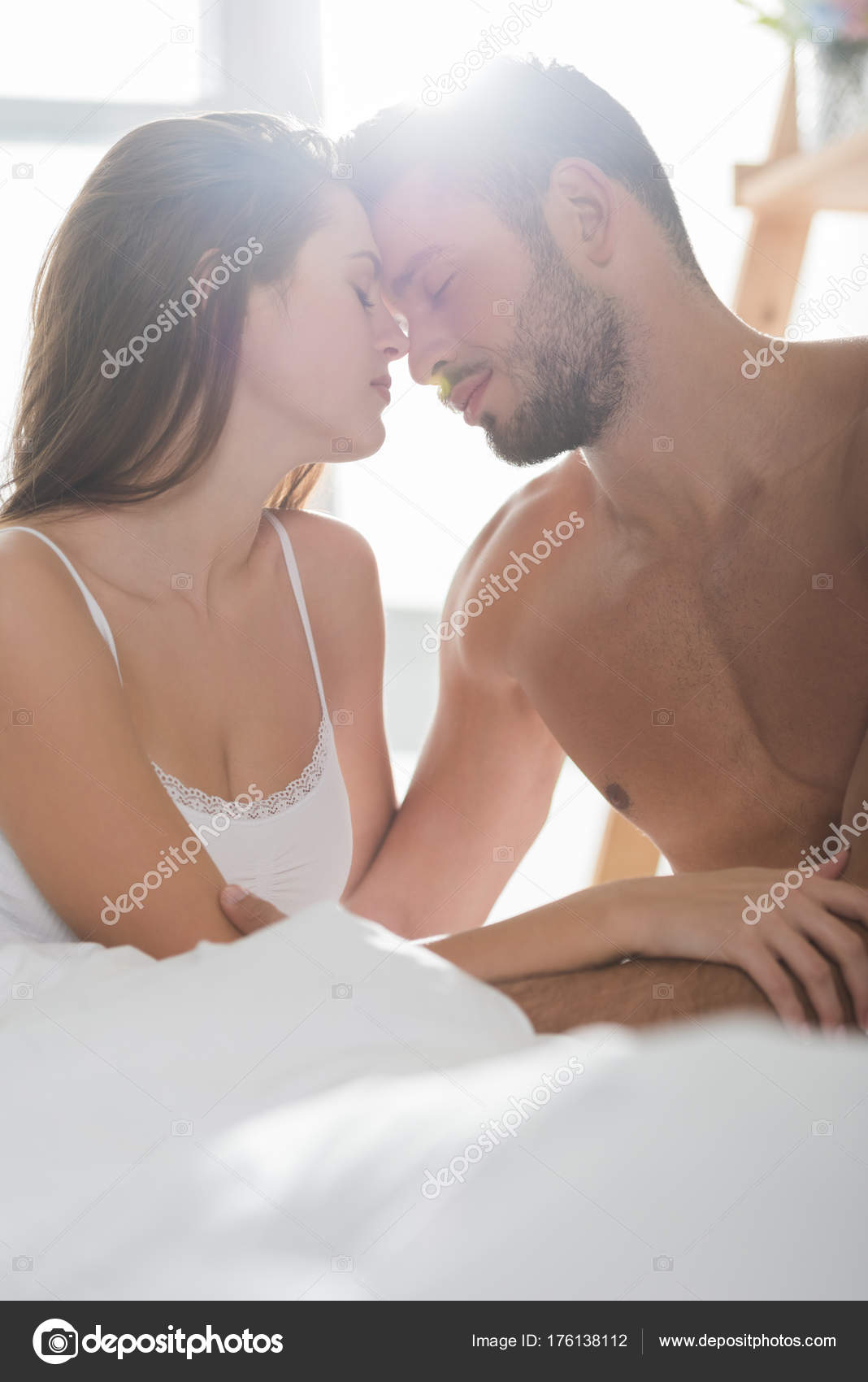 Beautiful Young Couple In Underwear Cuddling Bed Morning Photo By AllaSerebrina