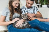 Photo beautiful young couple petting cat at home while sitting on floor