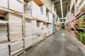 Photo blurred view of shelves with styrofoam in shipping stock