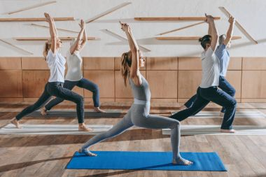 group of senior people practicing yoga with instructor in warrior pose on mats in studio