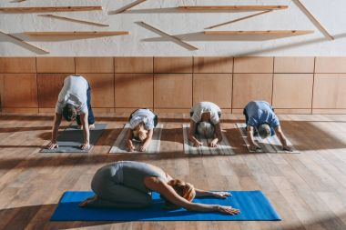 group of senior people with instructor practicing yoga on mats in studio