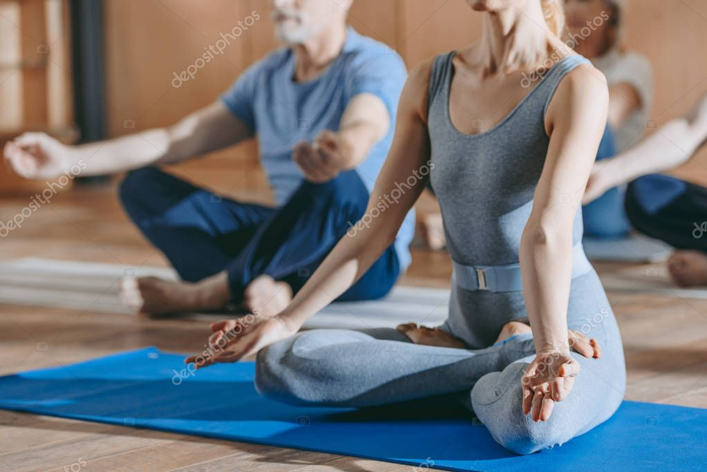 cropped shot of female instructor with senior people sitting in lotus position on yoga mats