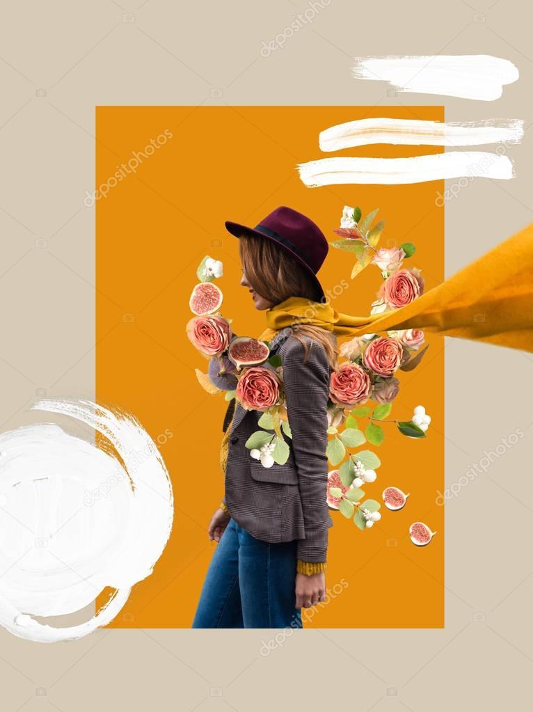 stylish girl in fedora hat