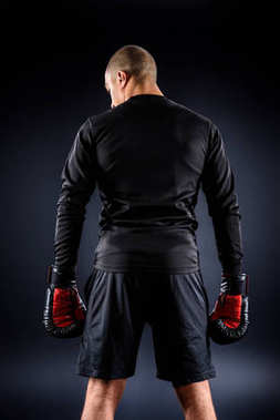 back view of african american boxer in gloves on black