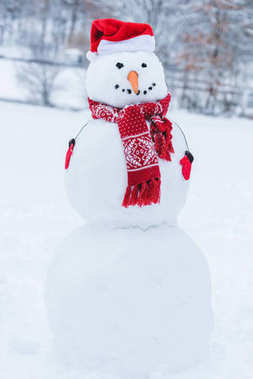 close up view of snowman in santa hat, scarf and mittens i winter park