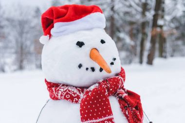 close-up view of funny snowman in scarf and santa hat in winter park