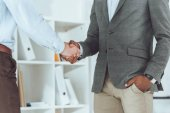 Photo cropped image of african american businessman and colleague shaking hands