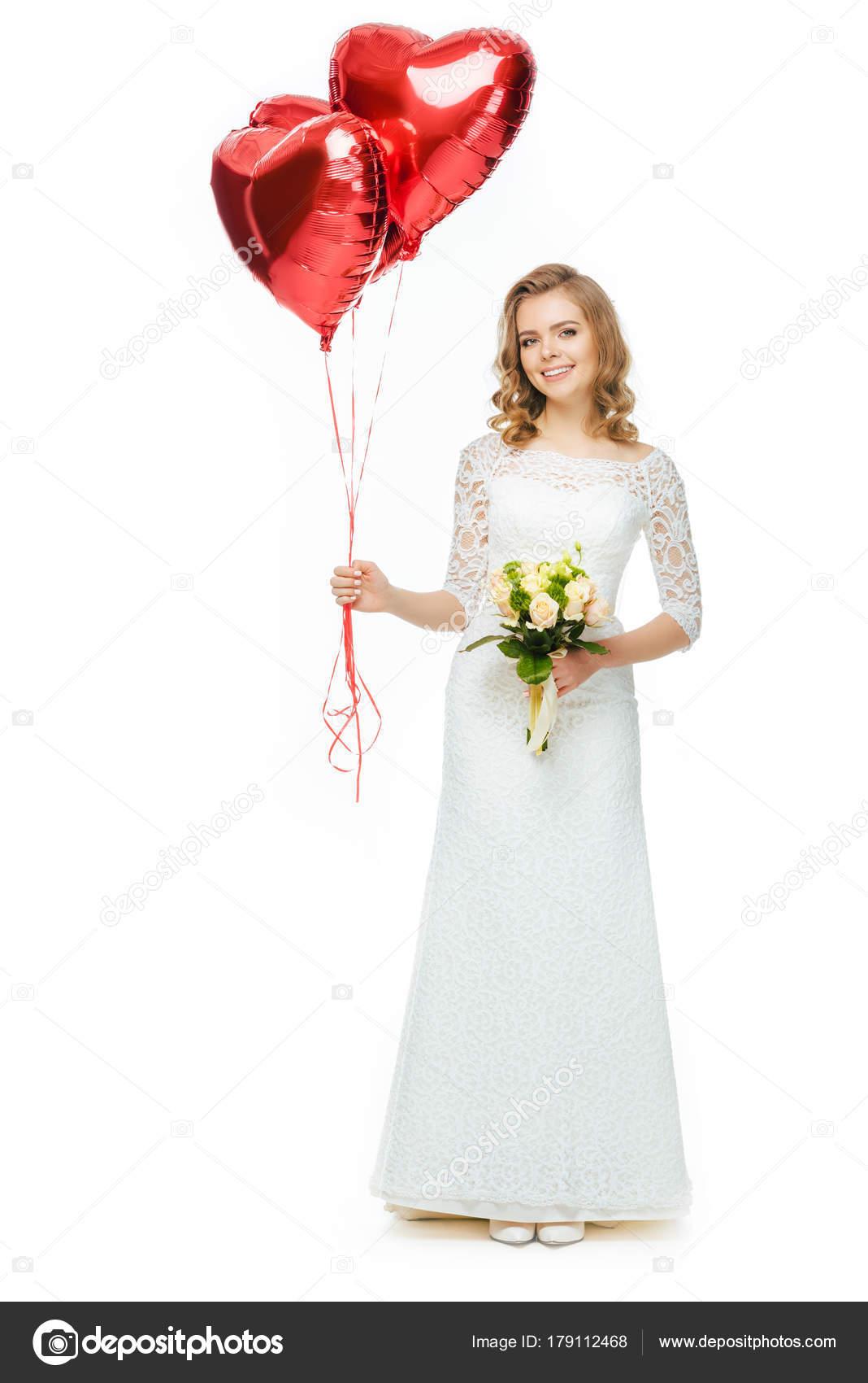 Schöne Braut Hochzeitskleid Mit Herzförmigen Luftballons Und ...
