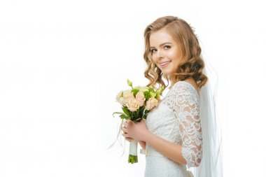 Side view of smiling bride in wedding dress and veil with bouquet of flowers isolated on white stock vector