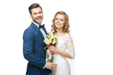 Portrait of smiling bride with wedding bouquet and groom isolated on white stock vector