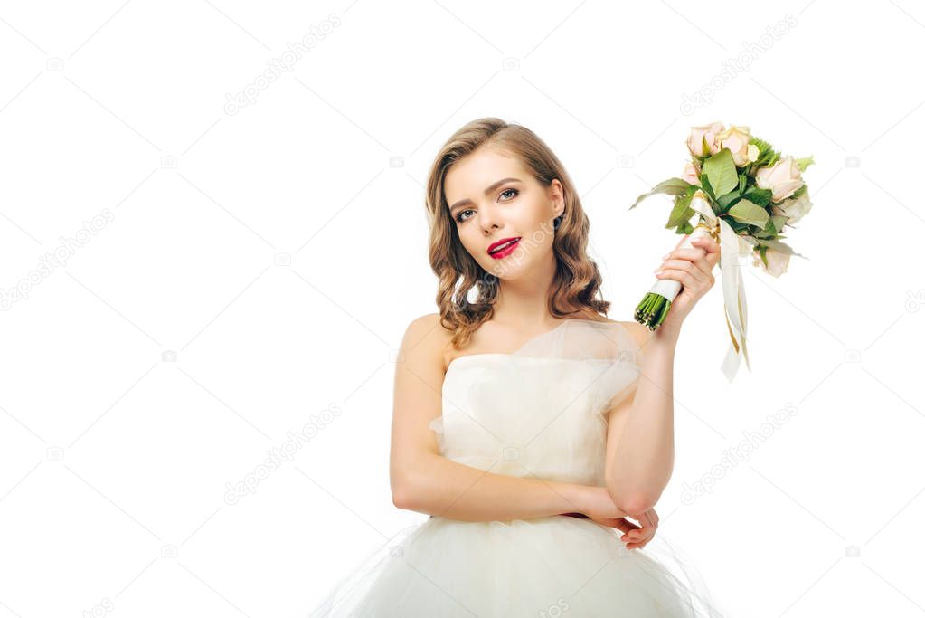 portrait of beautiful bride with wedding bouquet in hand isolated on white