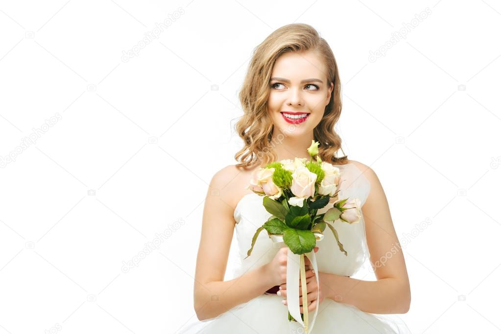 portrait of beautiful pensive bride with wedding bouquet isolated on white