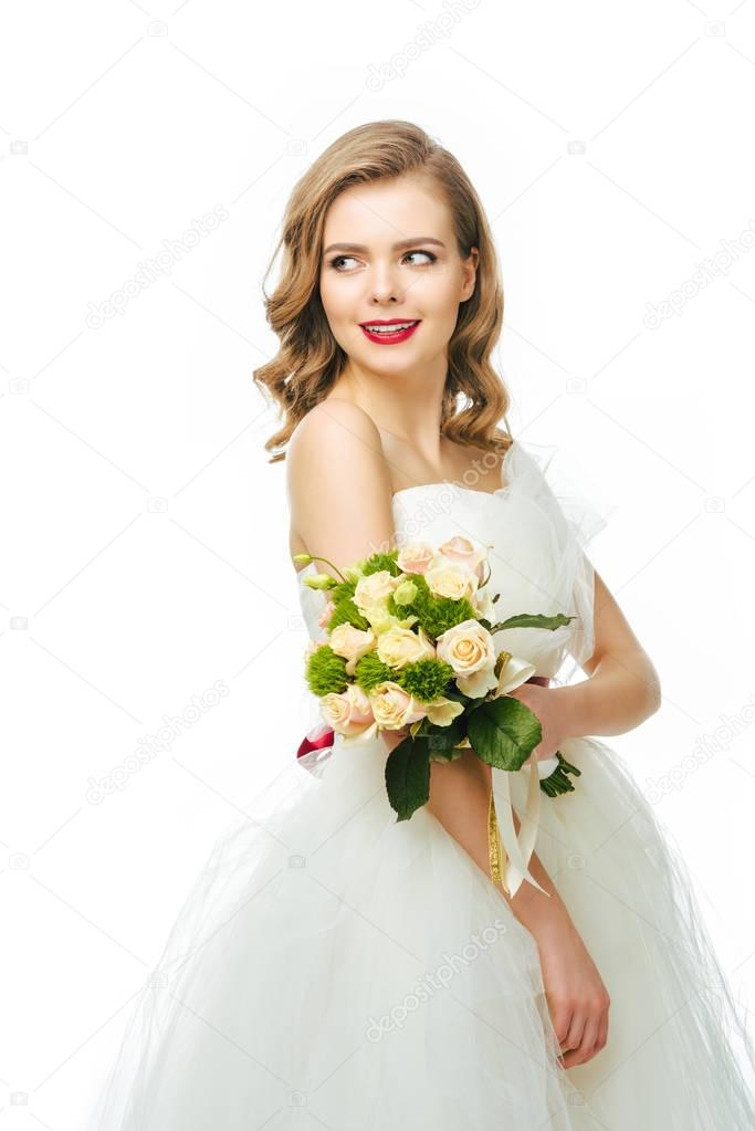 portrait of beautiful smiling  bride with wedding bouquet isolated on white
