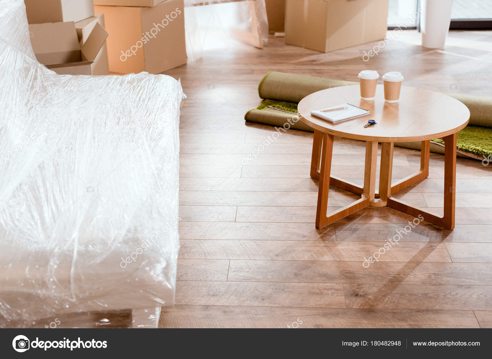 Coffee Table New Apartment Cardboard Boxes Stock Photo