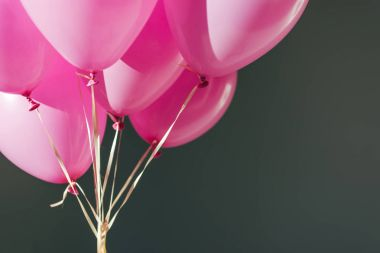 close up view of pink balloons isolated on grey