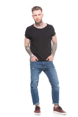 Tattooed man in casual clothes, isolated on white stock vector