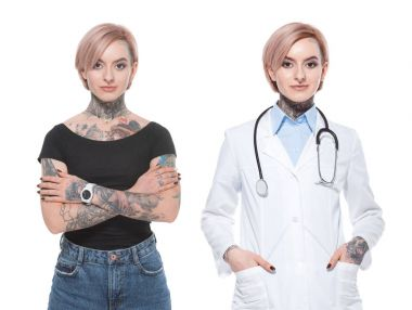 collage with stylish tattooed girl and female doctor, isolated on white
