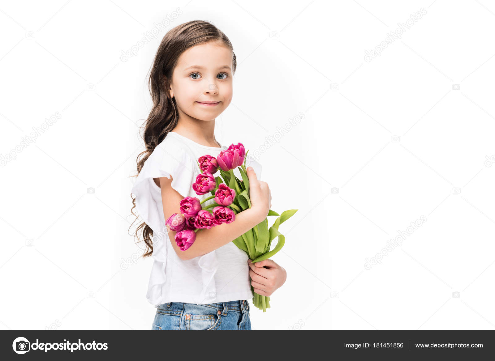 portrait cute child bouquet flowers hands isolated white mothers day