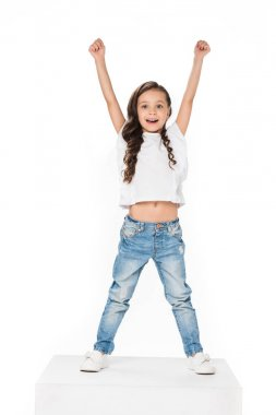 happy child with outstretched arms isolated on white