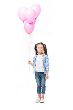 adorable little kid with pink balloons isolated on white