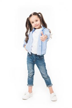 cute child showing thumb up isolated on white