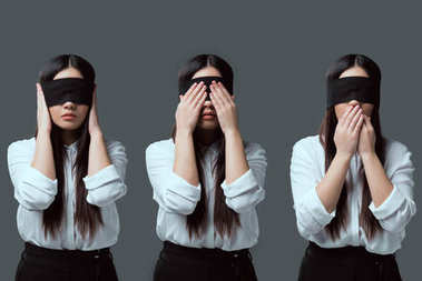 variations of young woman in black blindfold closing ears, eyes and mouth isolated on grey
