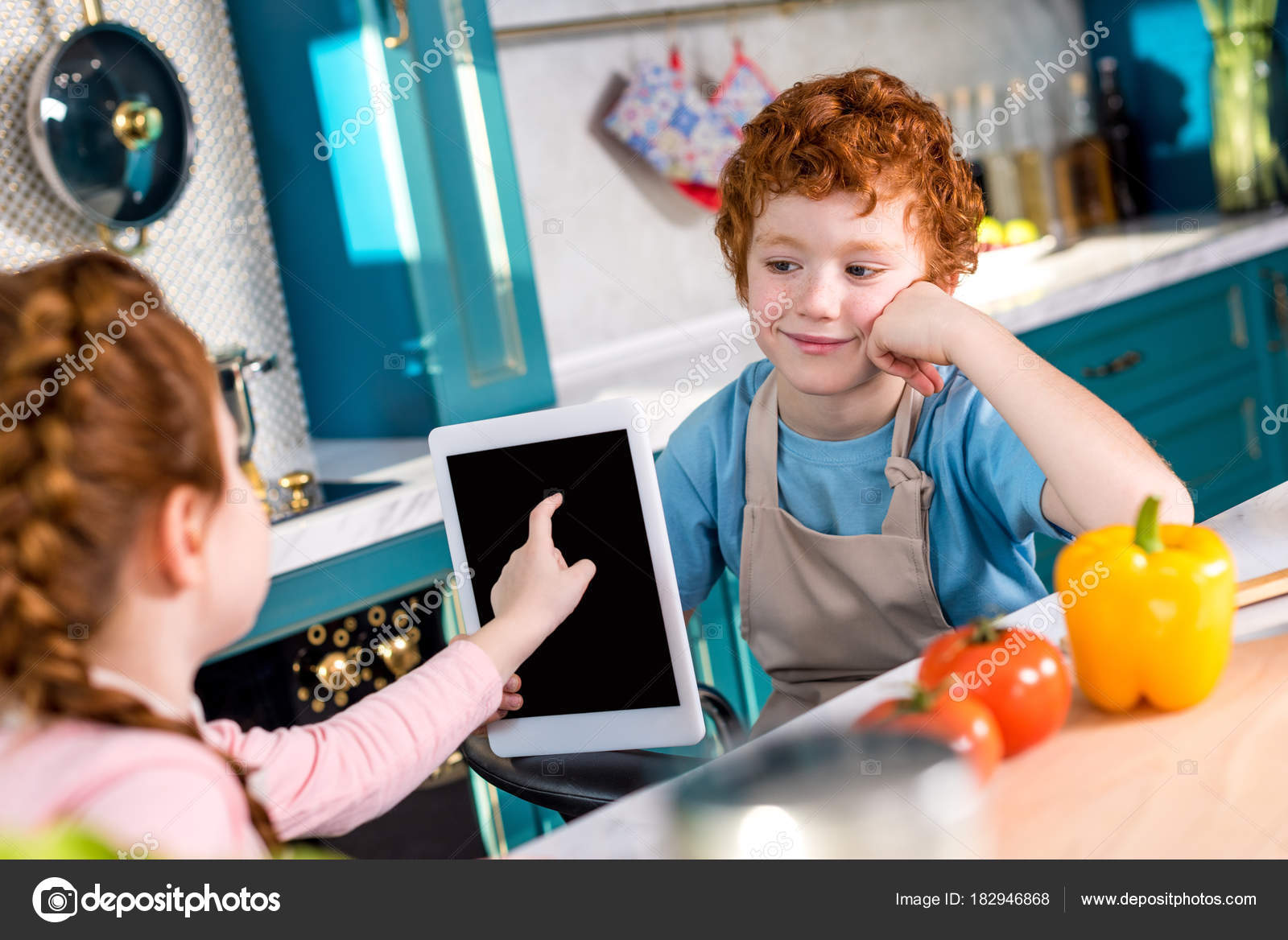 Cute Little Kids Using Digital Tablet While Cooking Together Kitchen ...