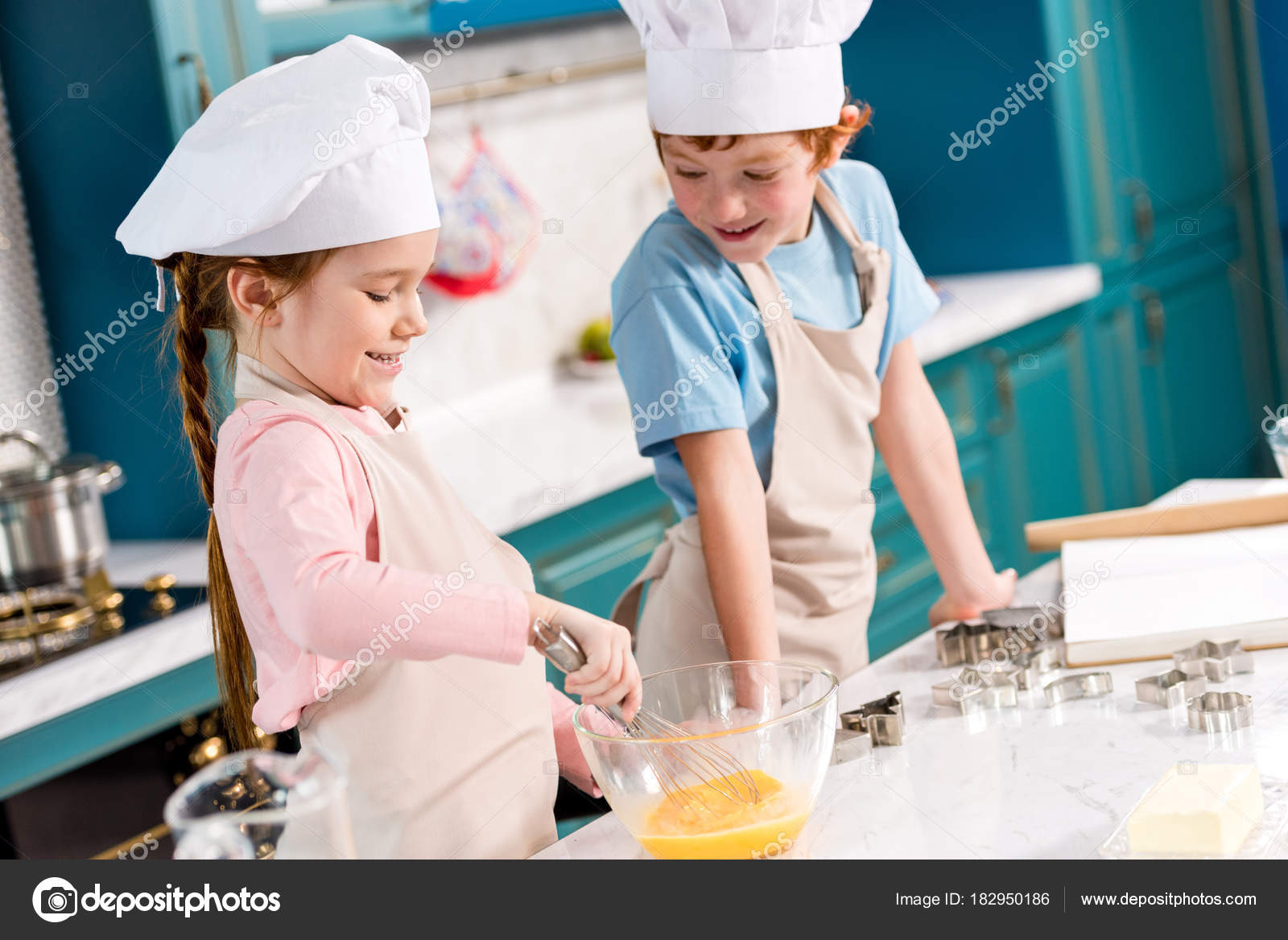 Adorable Smiling Children Chef Hats Aprons Making Dough Together ...