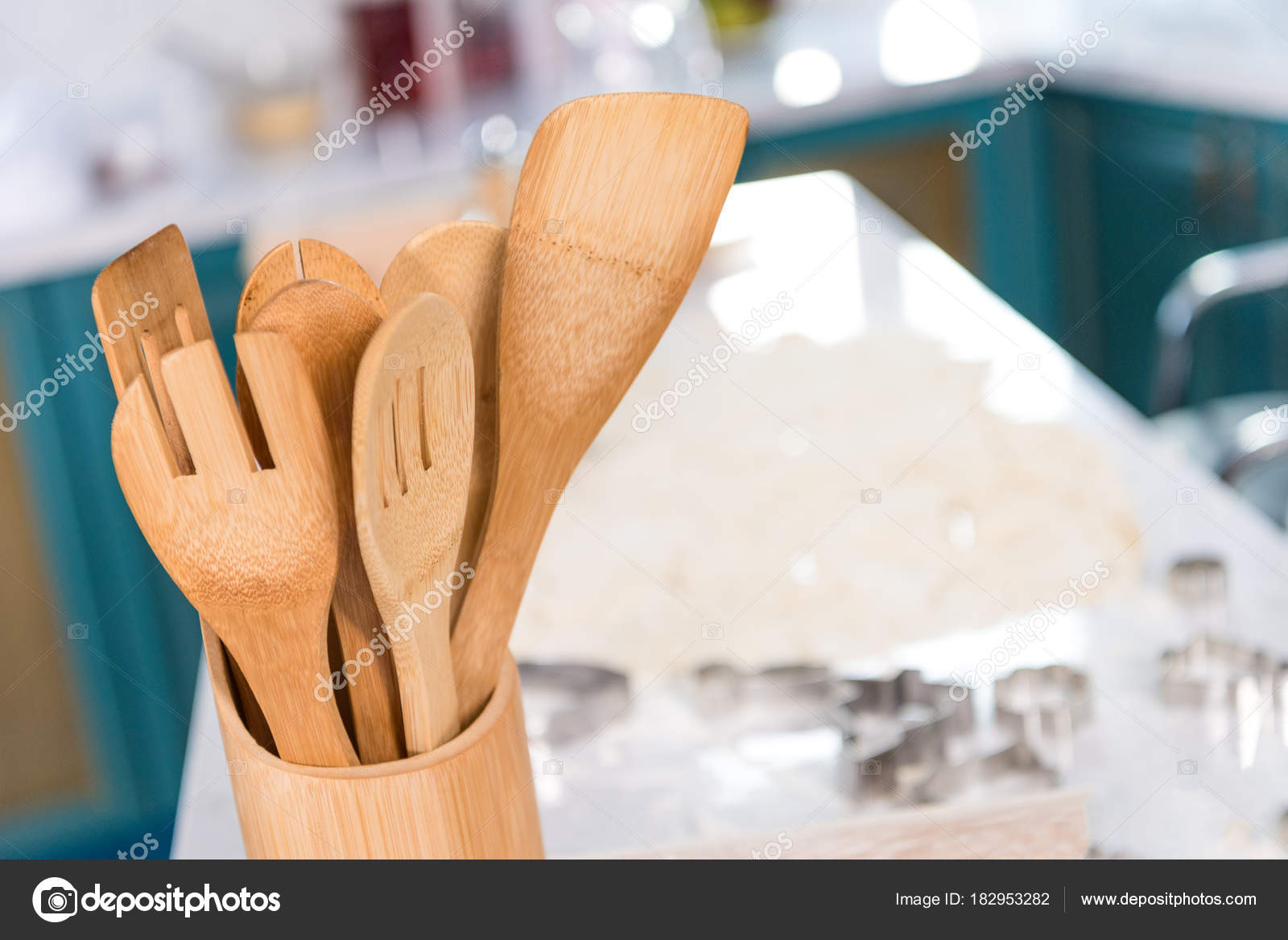 Nahaufnahme Von Holzutensilien Container Küche — Stockfoto ...