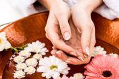 oříznutý pohled ženy, že lázeňské procedury s květinami v salonu krásy