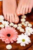 oříznutý pohled ženy dělat koupel s květy pro nohy