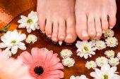 oříznutý pohled ženy dělat lázeňské procedury s květinami pro nohy