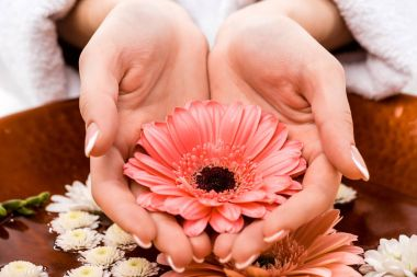 partial view of woman making spa bath with flowers for nails