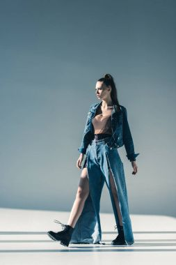 beautiful woman in trendy denim clothes