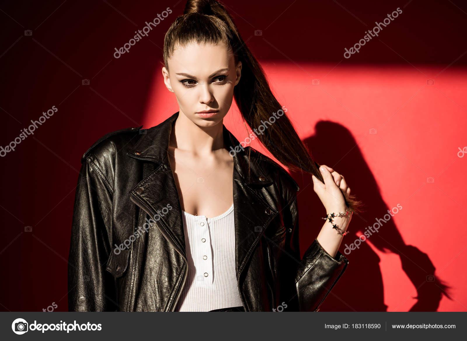 Stylish Girl Ponytail Hairstyle Posing Black Leather Jacket Fashion