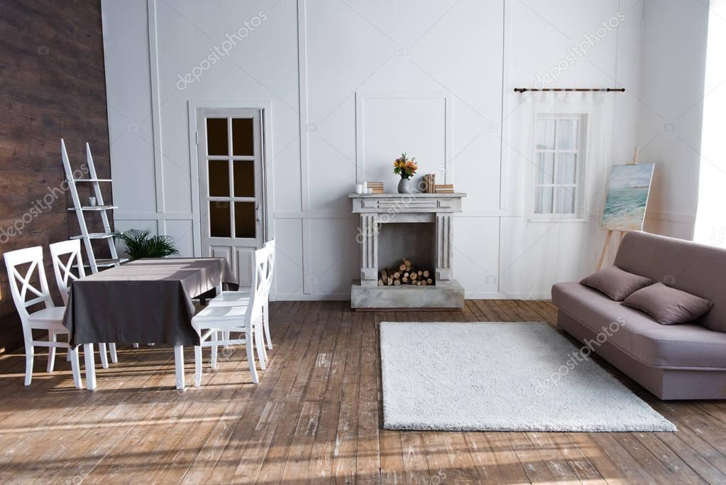 cozy living room interior with stylish furniture