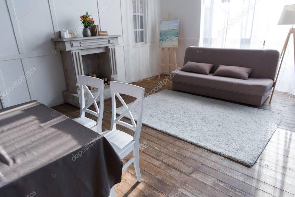 empty cozy room interior with stylish furniture