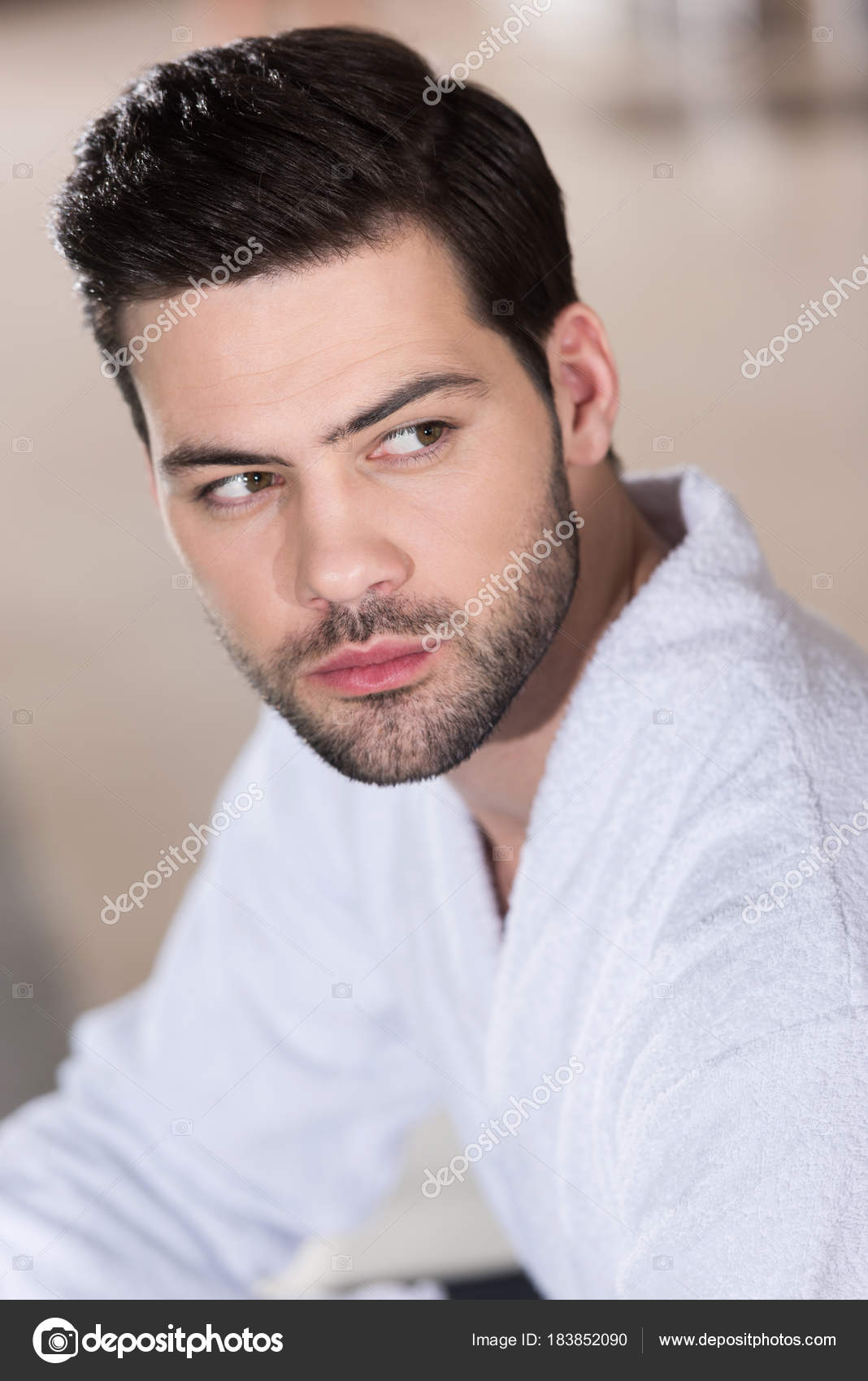 Handsome Bearded Young Man Bathrobe Looking Away Stock Photo Image By C Allaserebrina 183852090