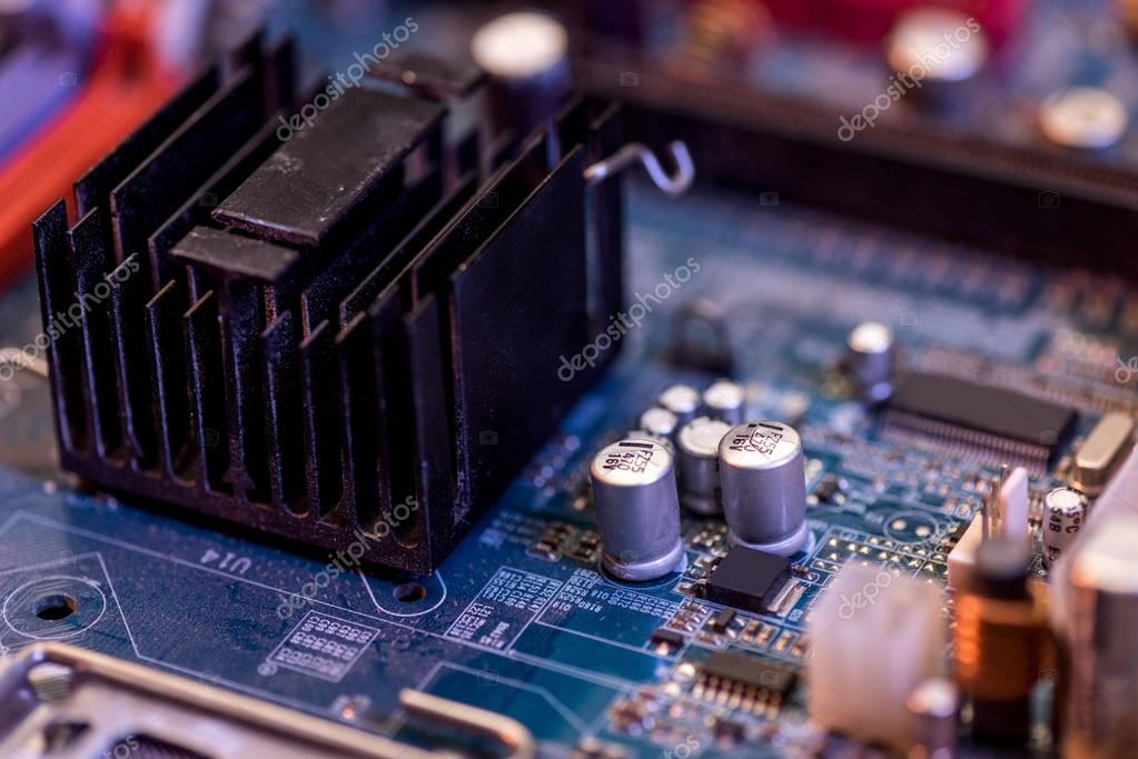 Close up of electronic computer motherboard