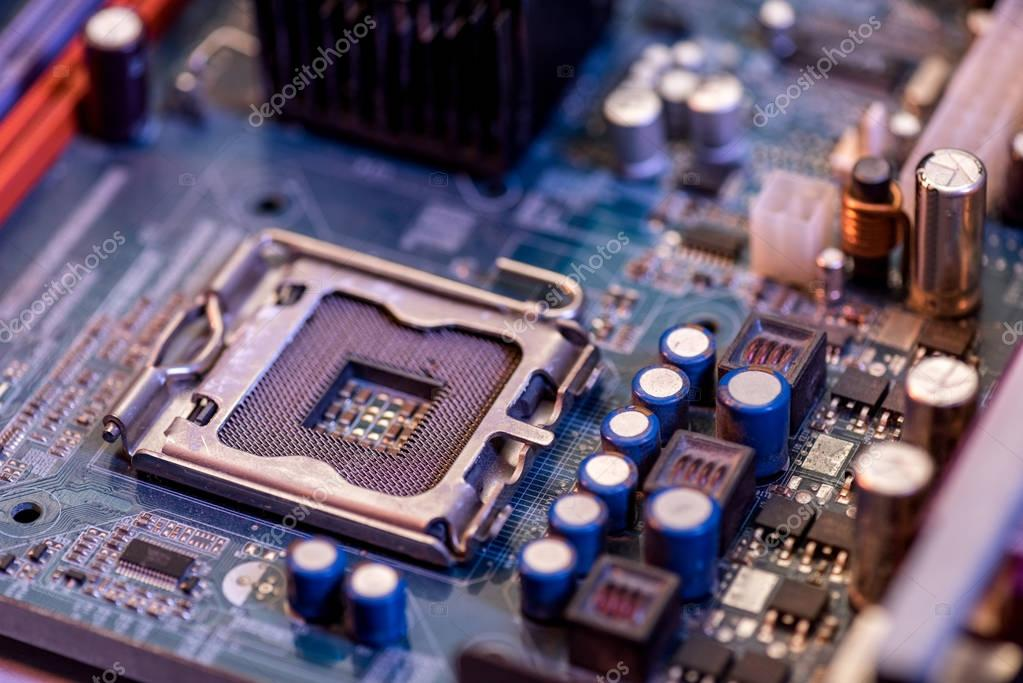 Close up view of electronic computer motherboard