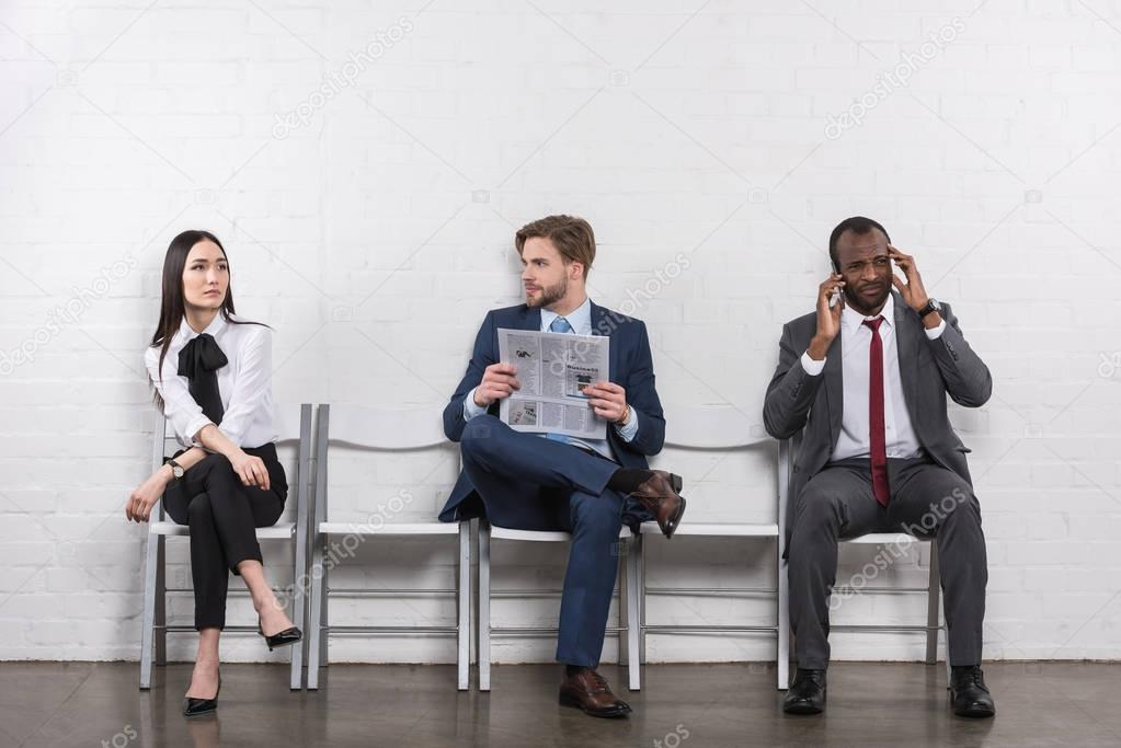 multicultural business people waiting for job interview